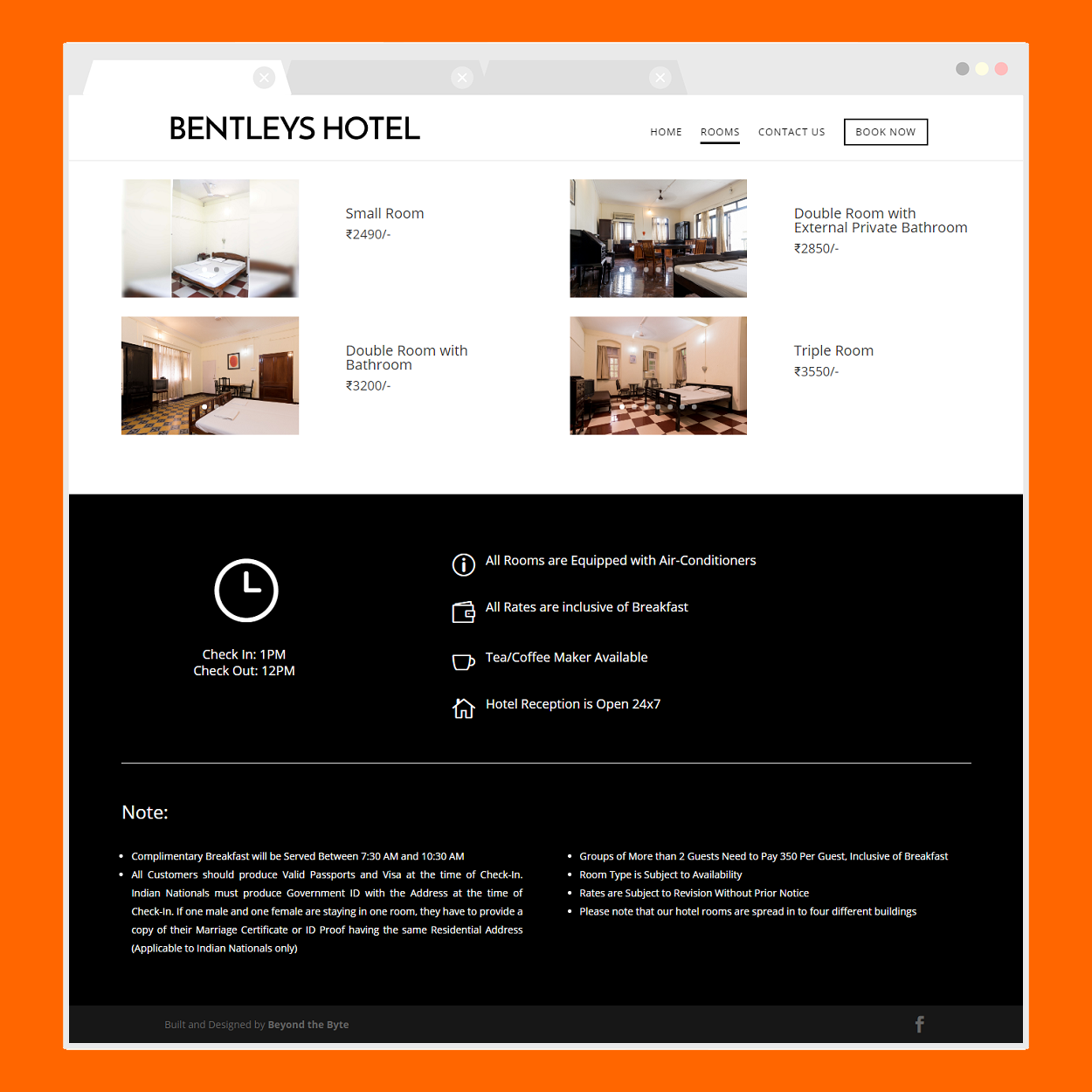Bentley's Hotel (Rooms Page)